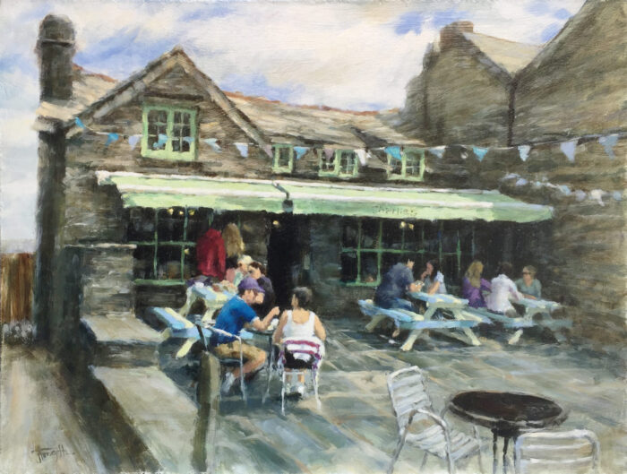 Port Isaac Cornwall cafe oil painting