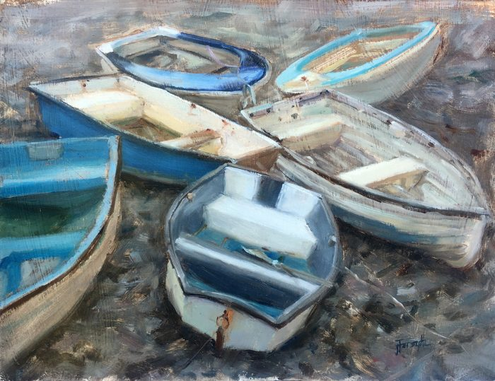 Boats in Porlock Weir, Exmoor, Devon, Oil painting