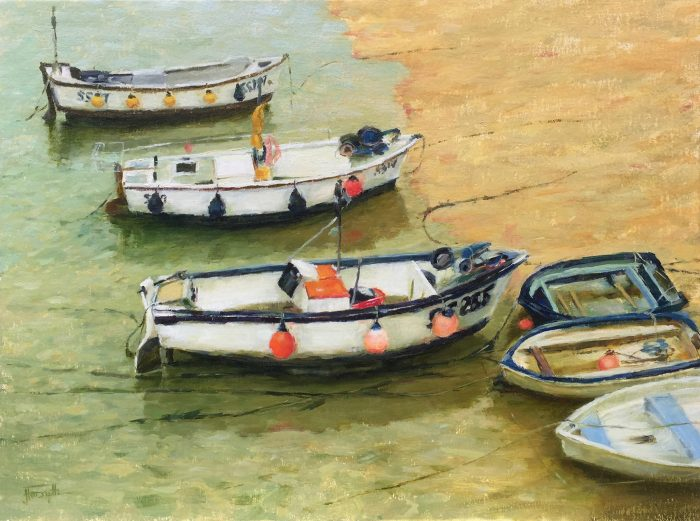 Boats in St Ives Cornwall oil painting