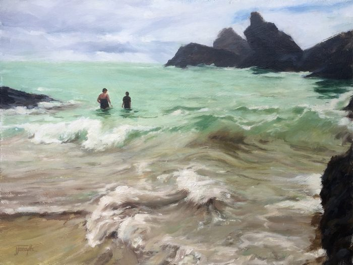 Two in the waves original oil painting